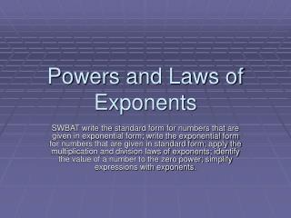 Powers and Laws of Exponents