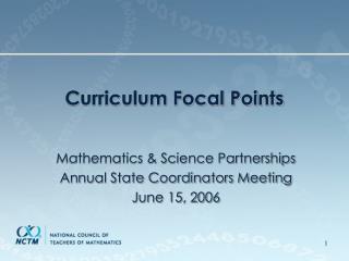 Curriculum Focal Points