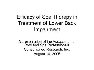 Efficacy of Spa Therapy in Treatment of Lower Back Impairment