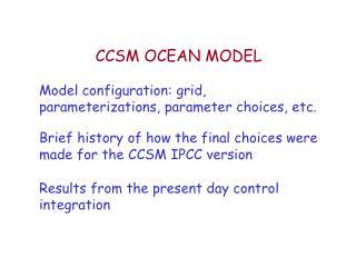 CCSM OCEAN MODEL