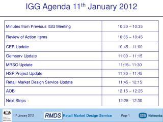IGG Agenda 11 th  January 2012
