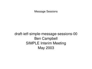 Message Sessions