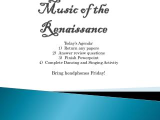 Music of the Renaissance