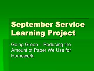 September Service Learning Project