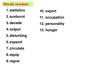 Words revision