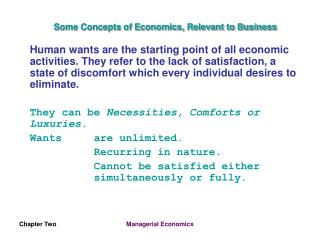 Some Concepts of Economics, Relevant to Business