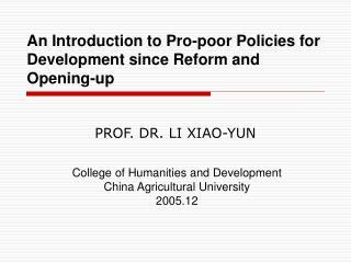 PROF. DR. LI XIAO-YUN