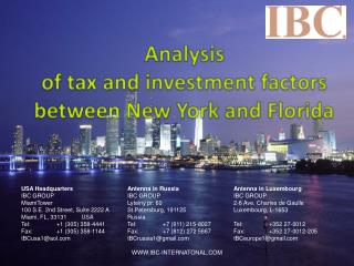 Analysis  of tax and investment factors between New York and Florida