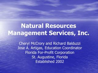 Natural Resources Management Services, Inc.