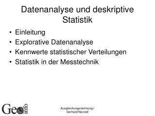 Datenanalyse und deskriptive Statistik