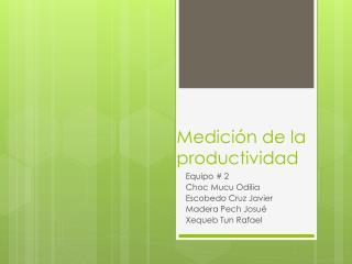 Medici�n de la productividad