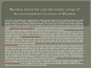 Mumbai home for sale-An exotic range of Accommodation facili