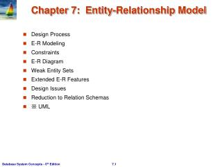 Chapter 7:  Entity-Relationship Model