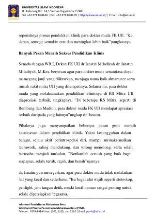 UNIVERSITAS ISLAM INDONESIA JL. Kaliurang Km. 14,5 Sleman Yogyakarta 55584