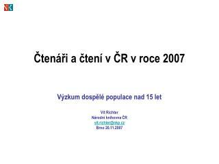 Čtenáři a čtení v ČR v roce 2007