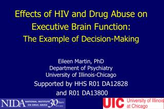 Effects of HIV and Drug Abuse on Executive Brain Function:  The Example of Decision-Making