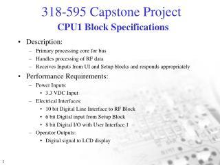 CPU1 Block Specifications