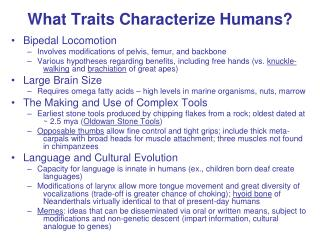 What Traits Characterize Humans