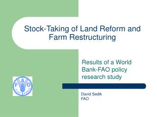 Stock-Taking of Land Reform and Farm Restructuring