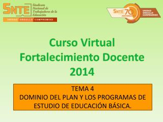 TEMA 4 DOMINIO DEL PLAN Y LOS PROGRAMAS DE ESTUDIO DE EDUCACIÓN BÁSICA.