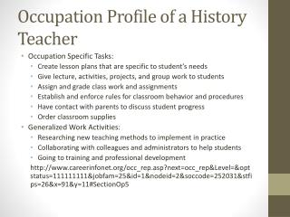 Occupation Profile of a History Teacher