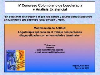 IV Congreso Colombiano de Logoterapia  y Análisis Existencial