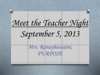 Meet the Teacher Night September 5, 2013