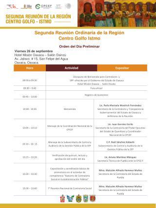 Segunda Reunión Ordinaria de la Región  Centro  Golfo Istmo Orden del Día Preliminar