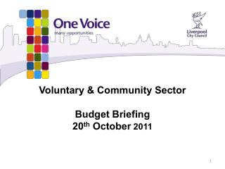 Voluntary & Community Sector Budget Briefing  20 th  October  2011