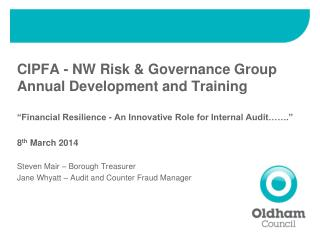 CIPFA - NW Risk & Governance Group Annual Development and Training