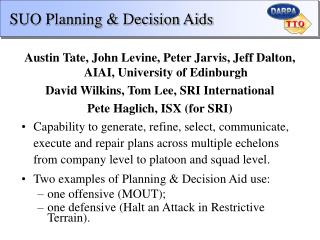 SUO Planning & Decision Aids