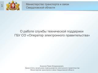О работе службы технической поддержки  ГБУ СО «Оператор электронного правительства»