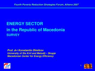 ENERGY SECTOR in the Republic of Macedonia SURVEY