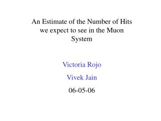 An Estimate of the Number of Hits we expect to see in the Muon System  Victoria Rojo Vivek Jain