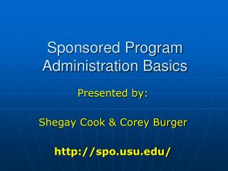 Sponsored Program Administration Basics