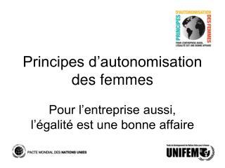 Principes d autonomisation des femmes