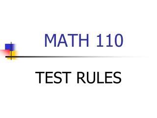 MATH 110