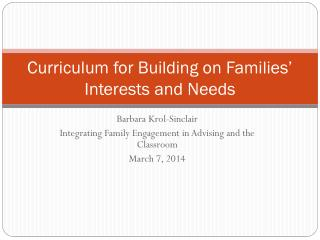 Curriculum for Building on Families' Interests and Needs
