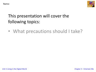 This presentation will cover the following topics: