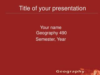 Title of your presentation