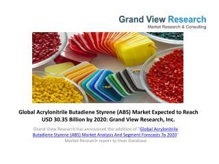 Acrylonitrile Butadiene Styrene (ABS) Market Share To 2020