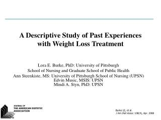 A Descriptive Study of Past Experiences with Weight Loss Treatment
