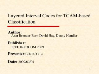 Layered Interval Codes for TCAM-based Classification