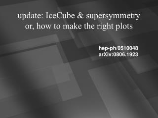 update: IceCube & supersymmetry or, how to make the right plots