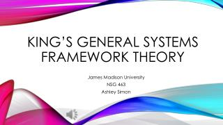 King's General Systems Framework Theory