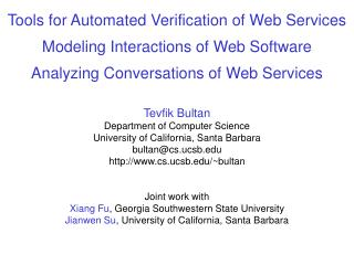 Tools for Automated Verification of Web Services