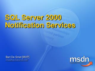 SQL Server 2000 Notification Services