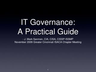 IT Governance: A Practical Guide
