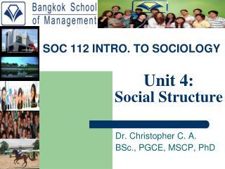 SOC 112 INTRO. TO SOCIOLOGY