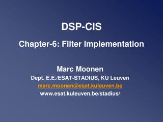 DSP-CIS Chapter -6: Filter Implementation